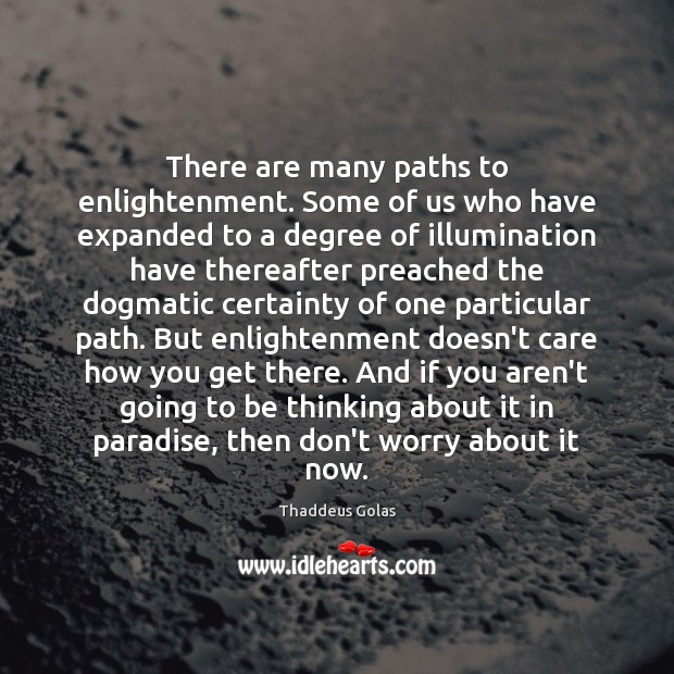 There are many paths to enlightenment. Some of us who have expanded Thaddeus Golas Picture Quote