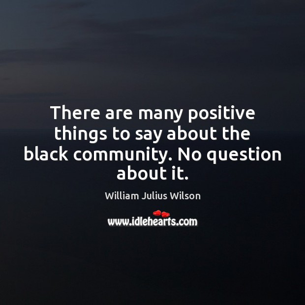 There are many positive things to say about the black community. No question about it. William Julius Wilson Picture Quote