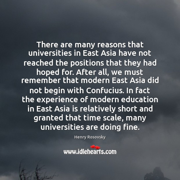 There are many reasons that universities in East Asia have not reached Image
