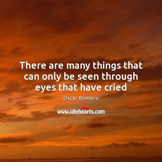 There are many things that can only be seen through eyes that have cried Oscar Romero Picture Quote