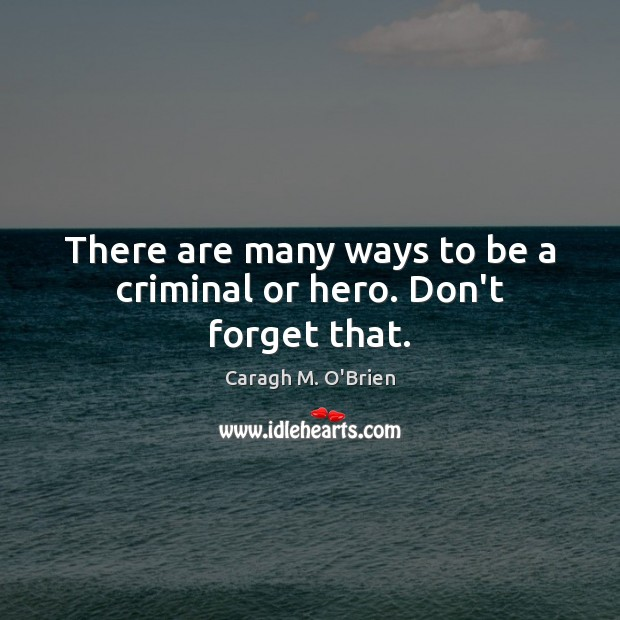 Image, There are many ways to be a criminal or hero. Don't forget that.