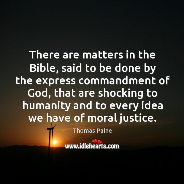 Image, There are matters in the bible, said to be done by the express commandment of God