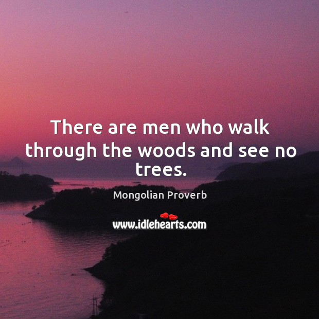 Image, There are men who walk through the woods and see no trees.