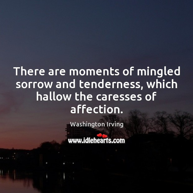 There are moments of mingled sorrow and tenderness, which hallow the caresses Washington Irving Picture Quote