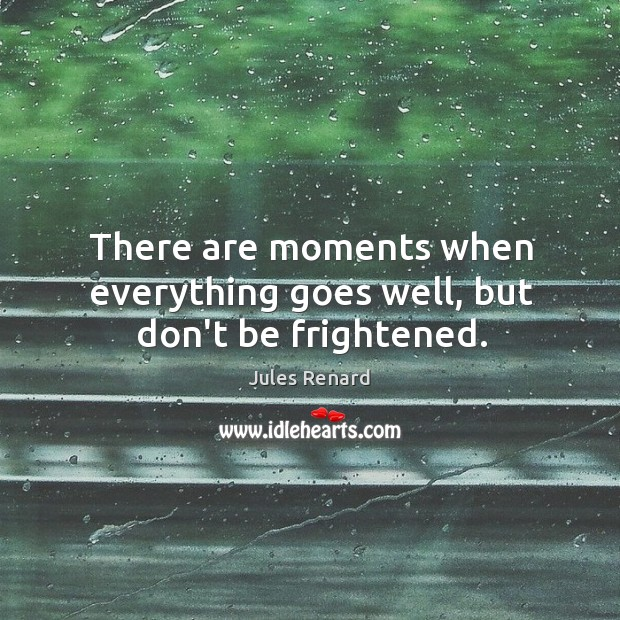 There are moments when everything goes well, but don't be frightened. Jules Renard Picture Quote