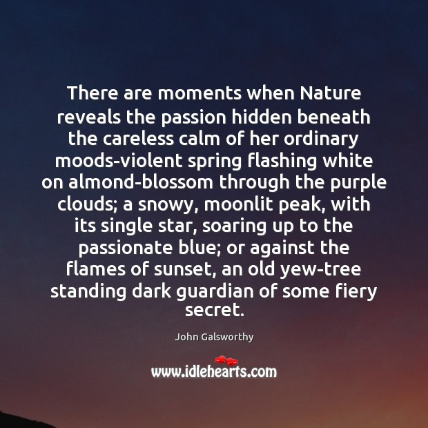 There are moments when Nature reveals the passion hidden beneath the careless John Galsworthy Picture Quote