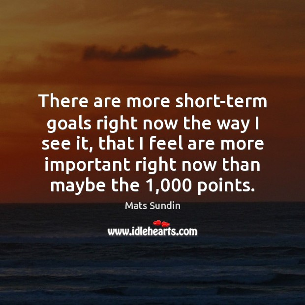 There are more short-term goals right now the way I see it, Mats Sundin Picture Quote
