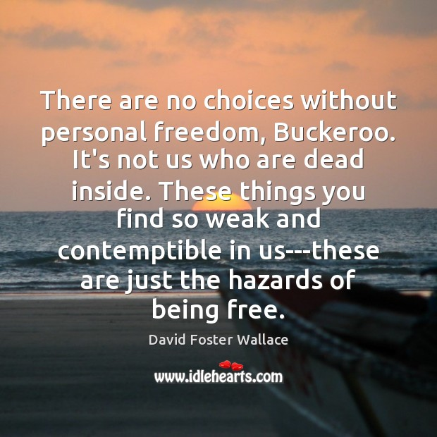 There are no choices without personal freedom, Buckeroo. It's not us who David Foster Wallace Picture Quote