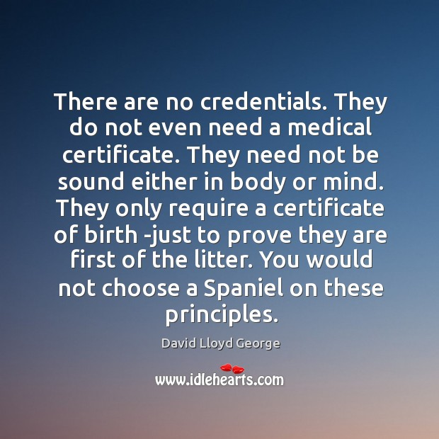There are no credentials. They do not even need a medical certificate. David Lloyd George Picture Quote