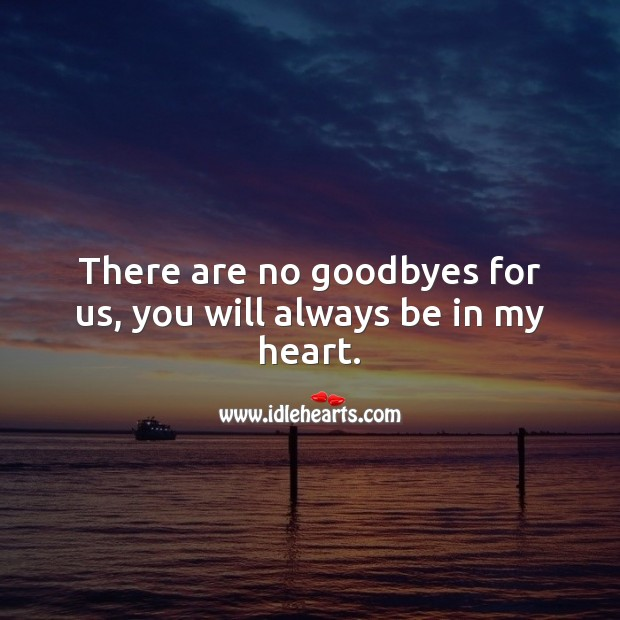 There are no goodbyes for us, you will always be in my heart. Heart Quotes Image