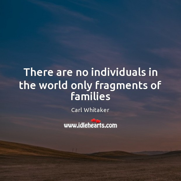 There are no individuals in the world only fragments of families Carl Whitaker Picture Quote