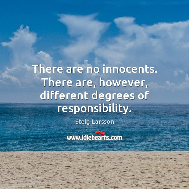 There are no innocents. There are, however, different degrees of responsibility. Image
