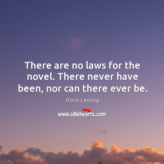 There are no laws for the novel. There never have been, nor can there ever be. Doris Lessing Picture Quote