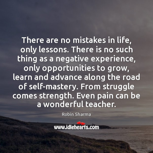Image, There are no mistakes in life, only lessons. There is no such