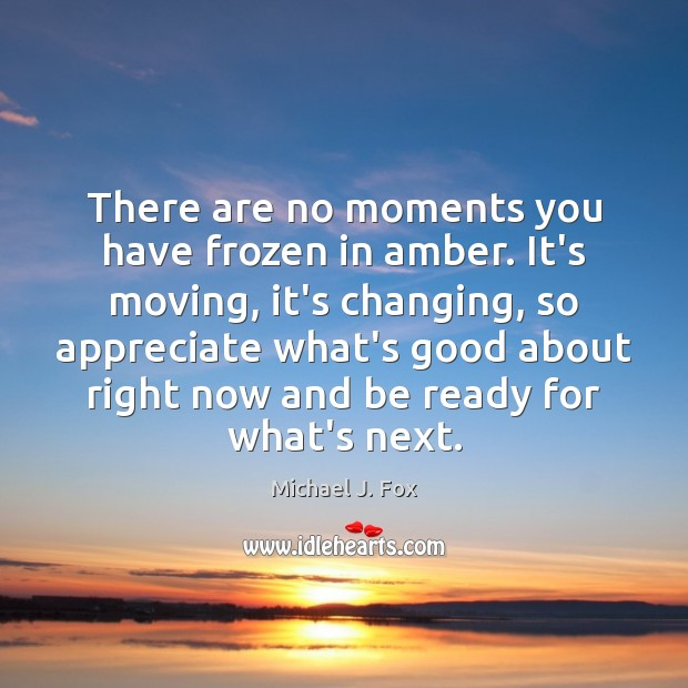 There are no moments you have frozen in amber. It's moving, it's Michael J. Fox Picture Quote