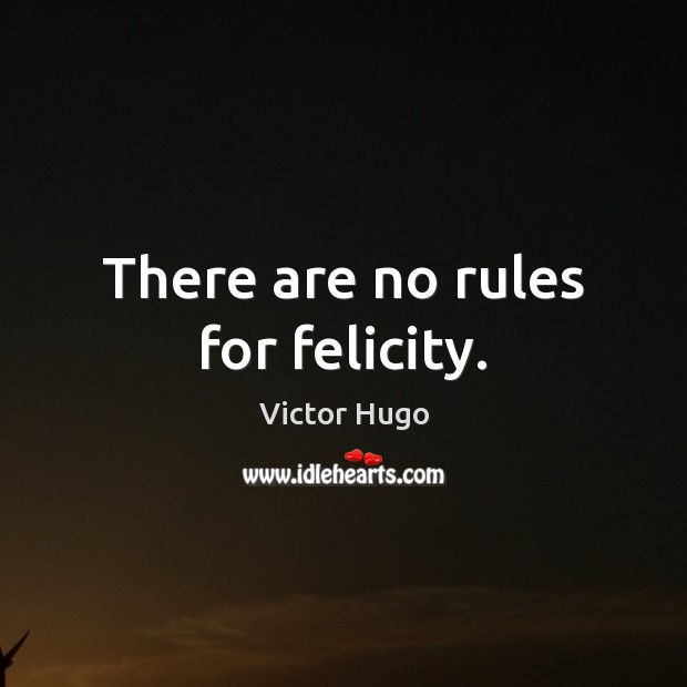 There are no rules for felicity. Victor Hugo Picture Quote