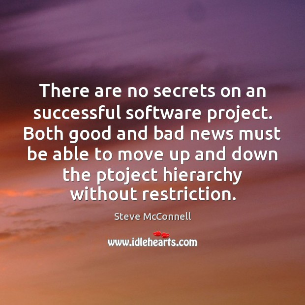There are no secrets on an successful software project. Both good and Image