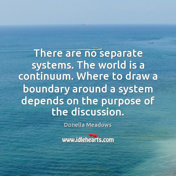 There are no separate systems. The world is a continuum. Where to Donella Meadows Picture Quote