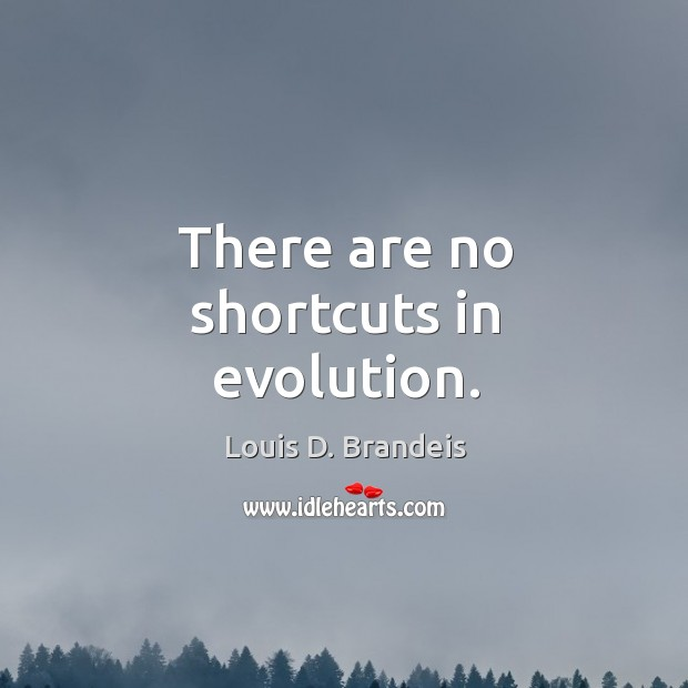 There are no shortcuts in evolution. Image