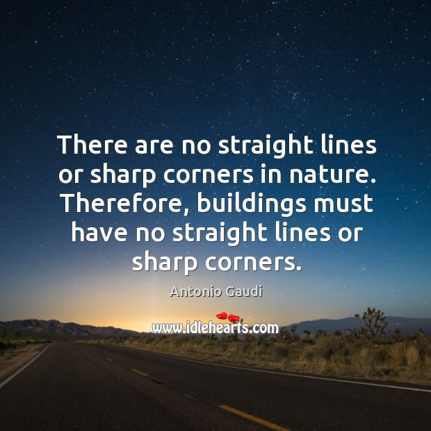 There are no straight lines or sharp corners in nature. Therefore, buildings Antonio Gaudi Picture Quote