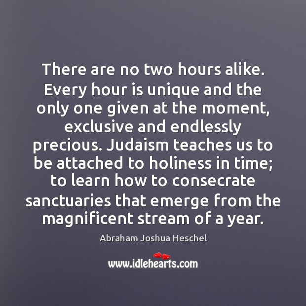 There are no two hours alike. Every hour is unique and the Abraham Joshua Heschel Picture Quote