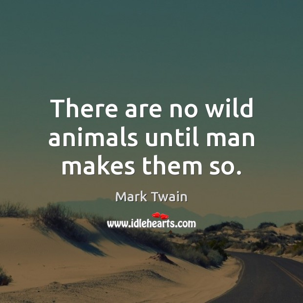 Image, There are no wild animals until man makes them so.