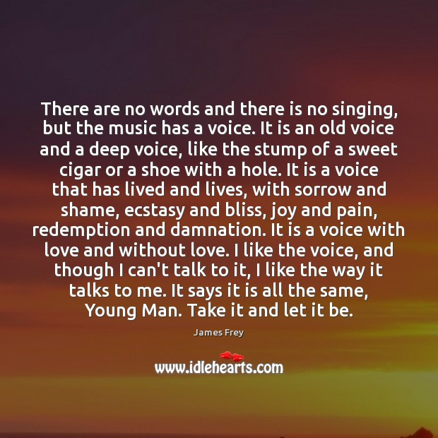 There are no words and there is no singing, but the music James Frey Picture Quote