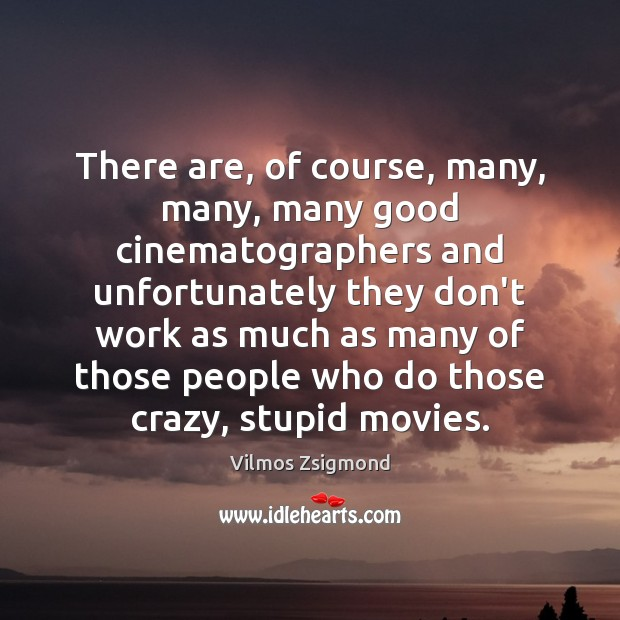 There are, of course, many, many, many good cinematographers and unfortunately they Vilmos Zsigmond Picture Quote