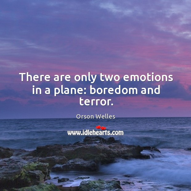 Image, There are only two emotions in a plane: boredom and terror.