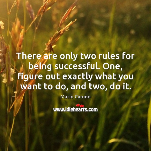 There are only two rules for being successful. One, figure out exactly Being Successful Quotes Image