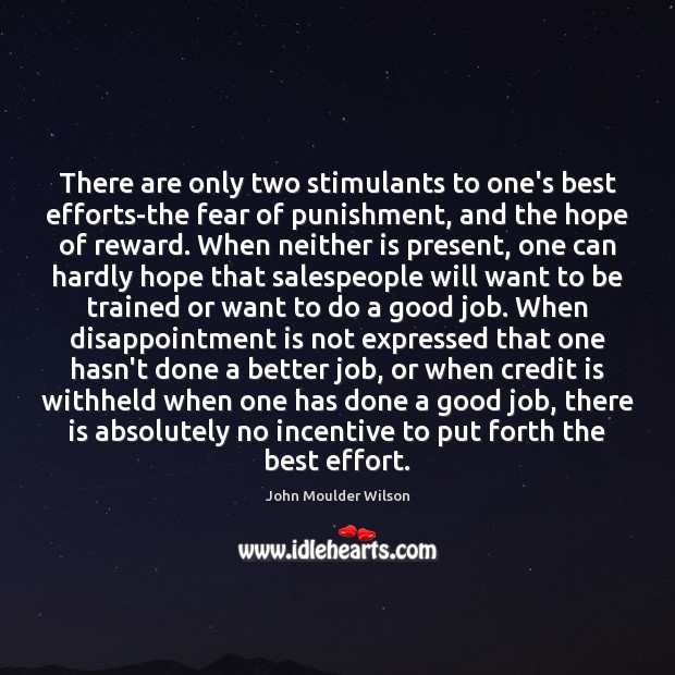 There are only two stimulants to one's best efforts-the fear of punishment, Image