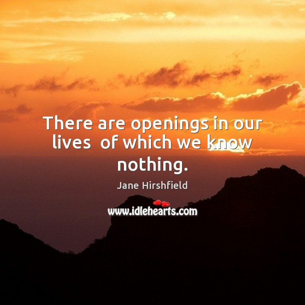 Image, There are openings in our lives  of which we know nothing.