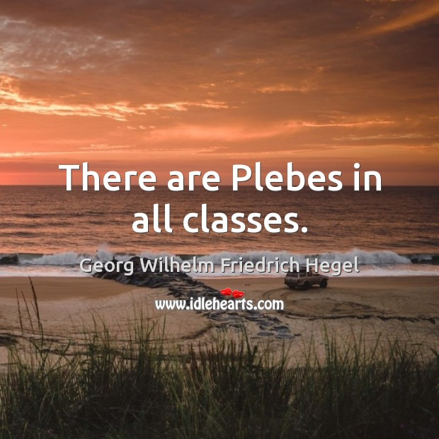 There are Plebes in all classes. Georg Wilhelm Friedrich Hegel Picture Quote