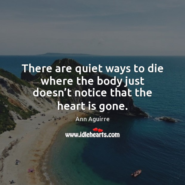 There are quiet ways to die where the body just doesn't notice that the heart is gone. Image