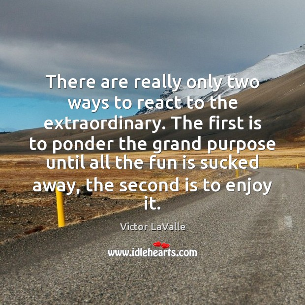 There are really only two ways to react to the extraordinary. The Image