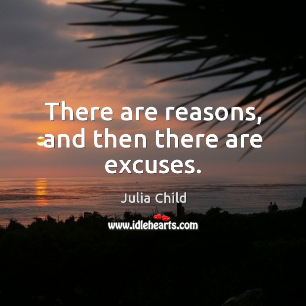 There are reasons, and then there are excuses. Julia Child Picture Quote