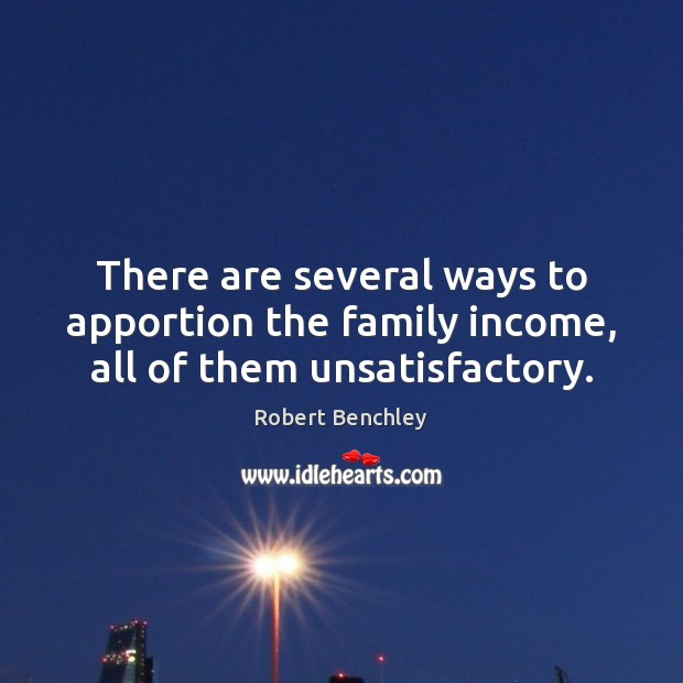 Image, There are several ways to apportion the family income, all of them unsatisfactory.