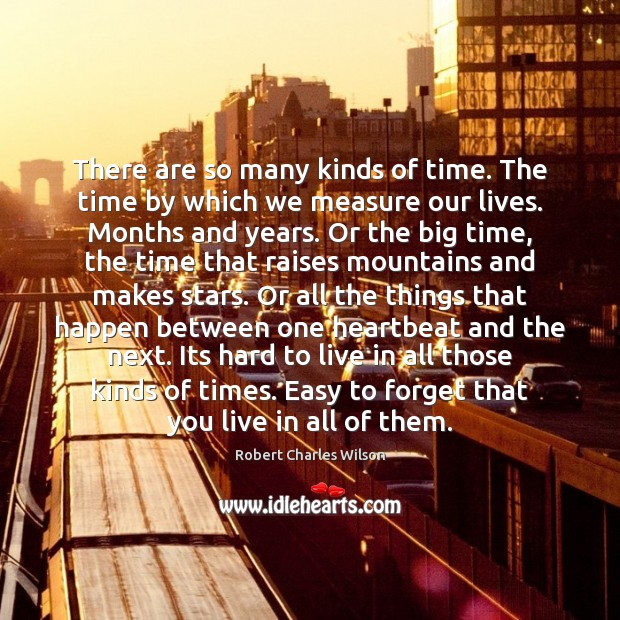There are so many kinds of time. The time by which we Robert Charles Wilson Picture Quote