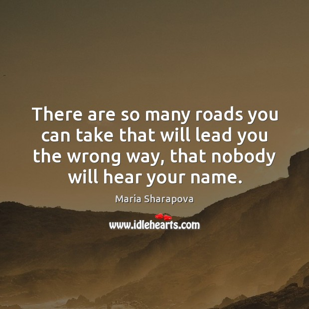 There are so many roads you can take that will lead you Maria Sharapova Picture Quote