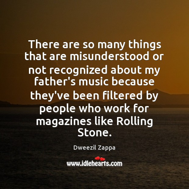 There are so many things that are misunderstood or not recognized about Dweezil Zappa Picture Quote