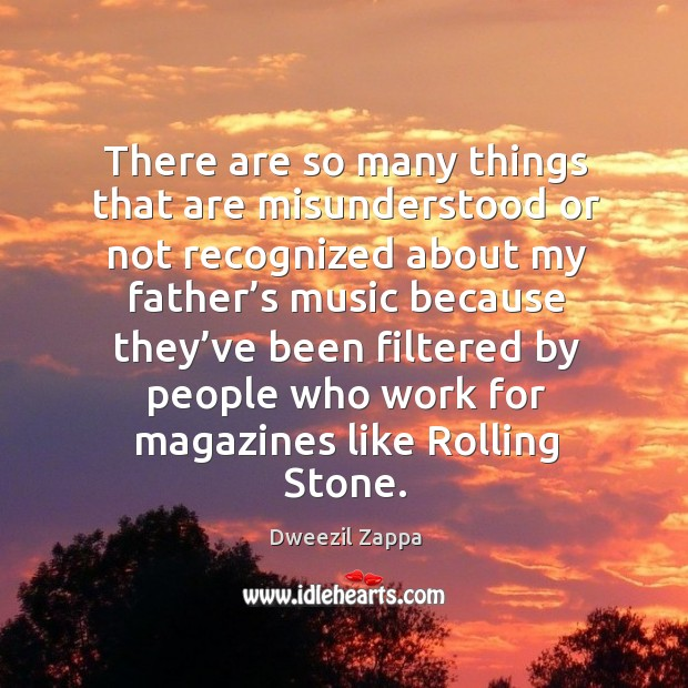 There are so many things that are misunderstood or not recognized Dweezil Zappa Picture Quote