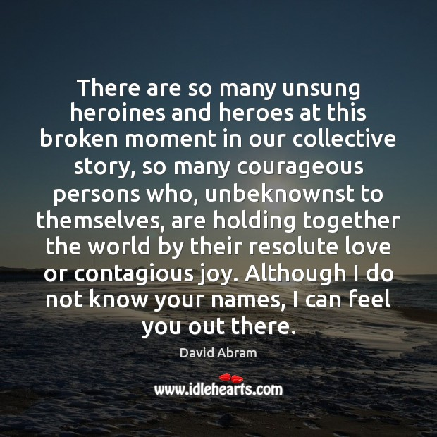 There are so many unsung heroines and heroes at this broken moment David Abram Picture Quote