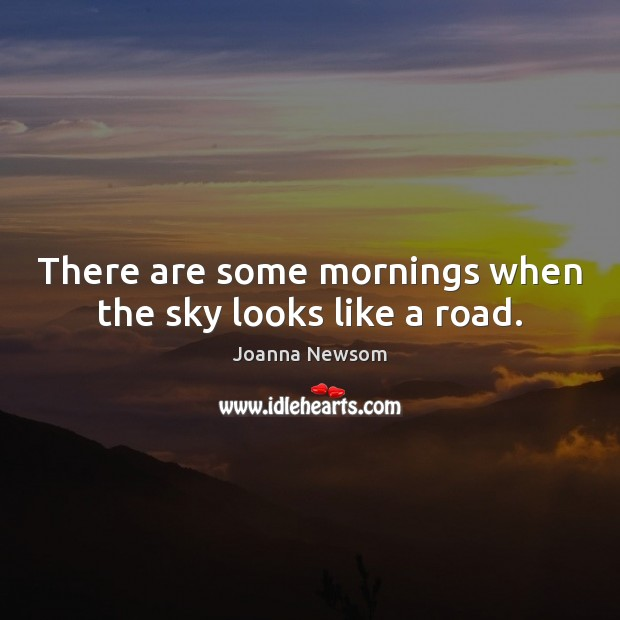 There are some mornings when the sky looks like a road. Joanna Newsom Picture Quote