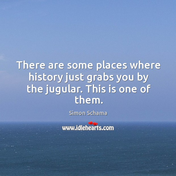 There are some places where history just grabs you by the jugular. This is one of them. Simon Schama Picture Quote