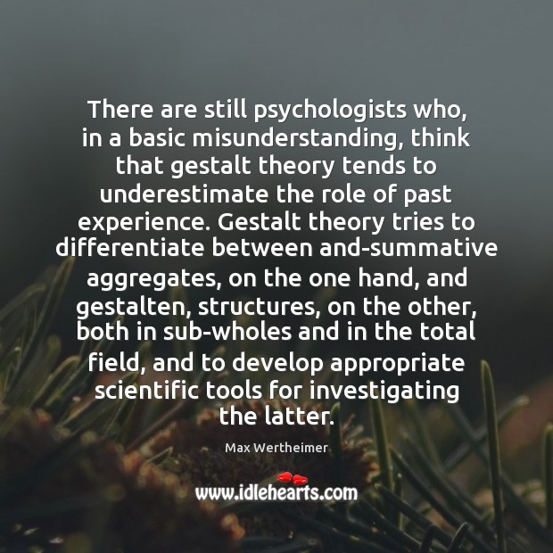 There are still psychologists who, in a basic misunderstanding, think that gestalt Max Wertheimer Picture Quote