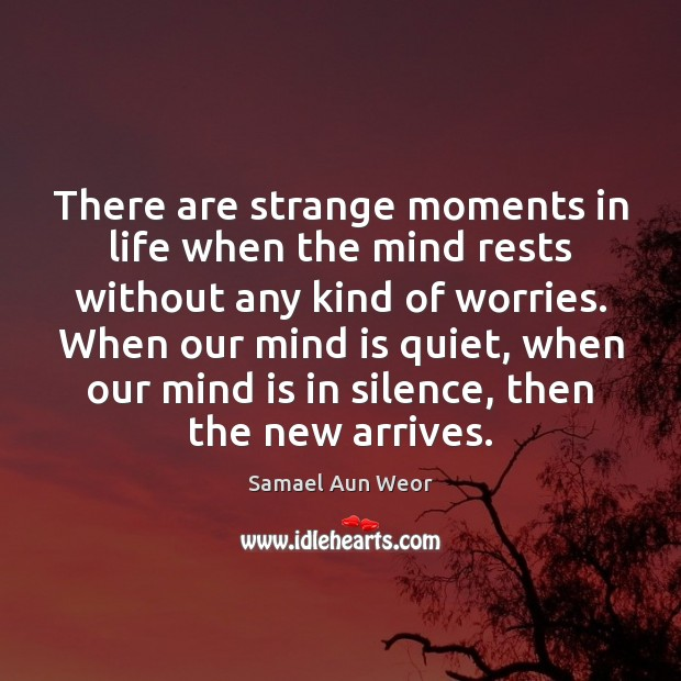 There are strange moments in life when the mind rests without any Image