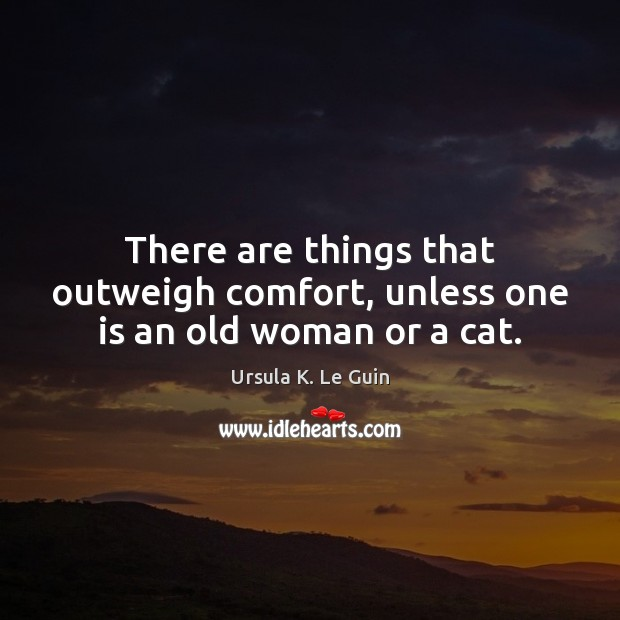 There are things that outweigh comfort, unless one is an old woman or a cat. Image