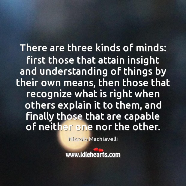 There are three kinds of minds: first those that attain insight and Niccolo Machiavelli Picture Quote