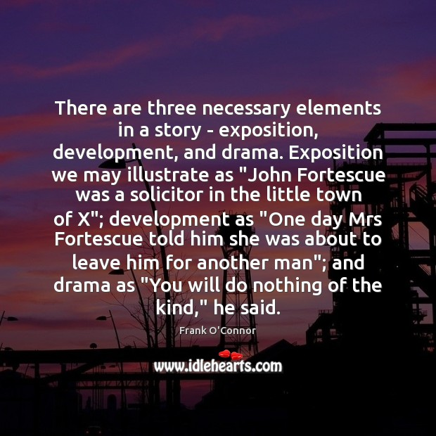 There are three necessary elements in a story – exposition, development, and Image