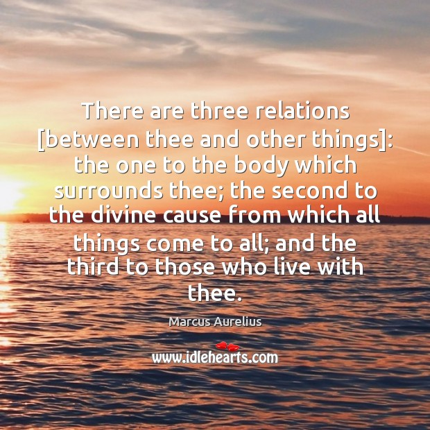 There are three relations [between thee and other things]: the one to Image